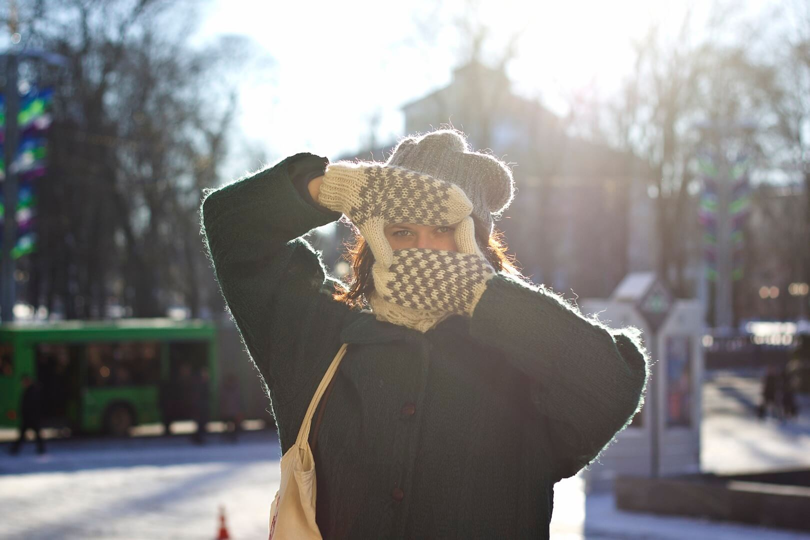 Belarus- Young women hides her face