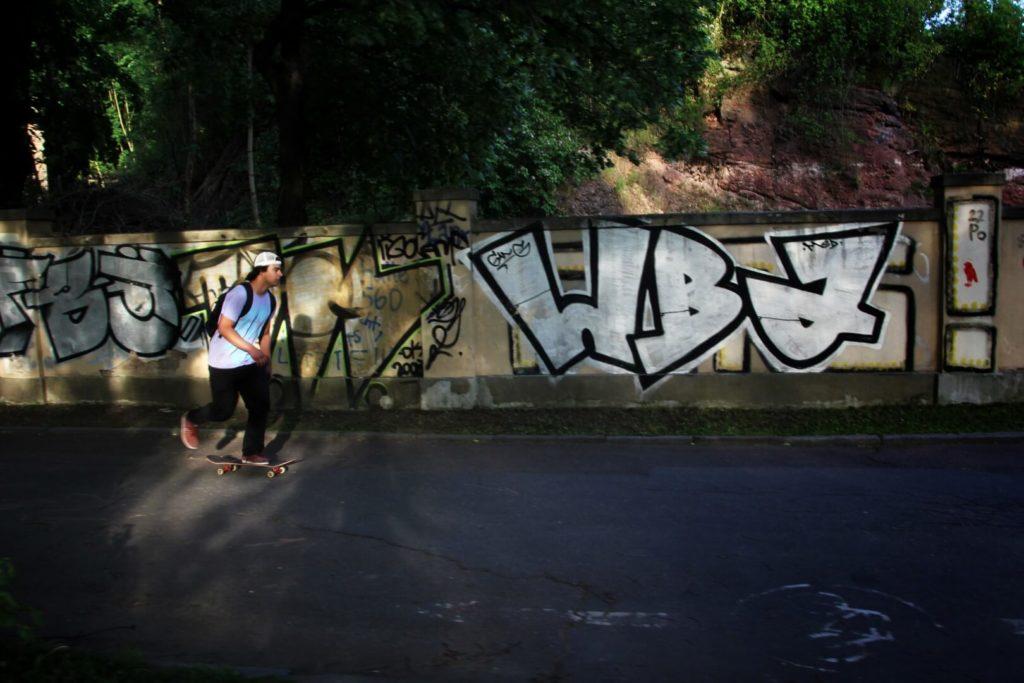 Skateboarder on his skateboard