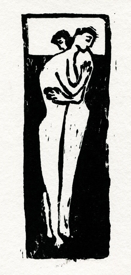 Empty Holes Hug linoleum print