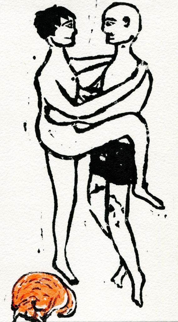 Hug linoleum print